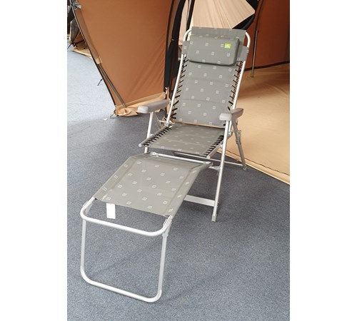 Via Mondo XL Padded Flex Relaxer Chair with Footrest - Grey