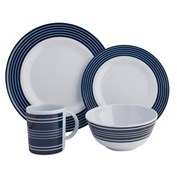 Navy Pinstripe Melamine 16 Piece Dinner Set