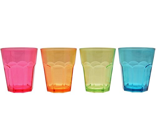 Flamefield Coloured Acrylic Soda Glasses - Pack of 4