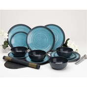 Flamefield Granite 12 Piece Melamine Dining Set - Aqua