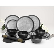Flamefield Granite 12 Piece Melamine Dining Set - Grey