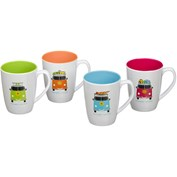 Flamefield Camper Smiles Melamine Mug Set (Pack of 4) - Multicoloured