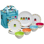 Flamefield Camper Smiles 12 Piece Melamine Dining Set with Cooler Bag