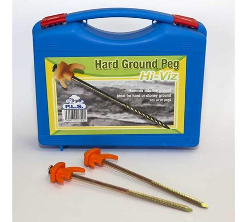 PLS High Visibility Hard Ground Pegs - Box of 20 Pegs