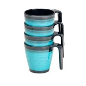 Flamefield Granite Stacked Mug Set - Pack of 4 - Aqua