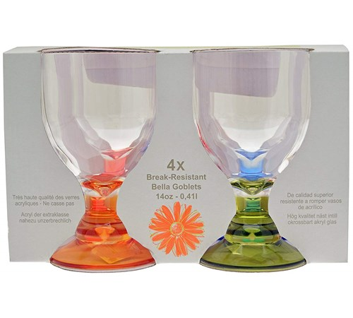 Flamefield Party Bella Acrylic Wine Goblets - Pack of 4