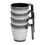 Flamefield Granite Stacked Mug Set - Pack of 4 - Grey
