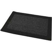 JVL Madras Machine Washable Doormat - Black & Grey