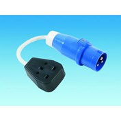13 Amp UK Rubber Socket to CEE 16 Amp Plug
